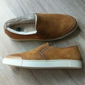 Frye Gemma Shearling Slip On Suede Sneakers